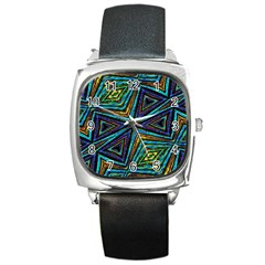 Tribal Style Colorful Geometric Pattern Square Leather Watch by dflcprints