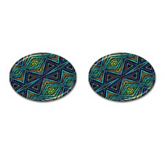 Tribal Style Colorful Geometric Pattern Cufflinks (oval) by dflcprints