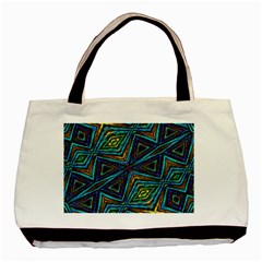 Tribal Style Colorful Geometric Pattern Twin Sided Black Tote Bag by dflcprints