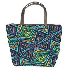 Tribal Style Colorful Geometric Pattern Bucket Handbag by dflcprints