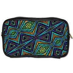 Tribal Style Colorful Geometric Pattern Travel Toiletry Bag (two Sides) by dflcprints