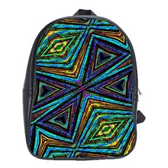 Tribal Style Colorful Geometric Pattern School Bag (xl) by dflcprints