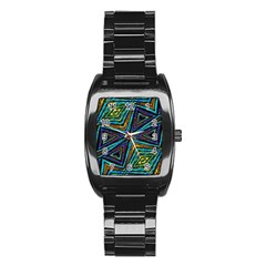 Tribal Style Colorful Geometric Pattern Stainless Steel Barrel Watch by dflcprints