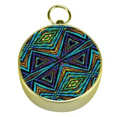 Tribal Style Colorful Geometric Pattern Gold Compass by dflcprints