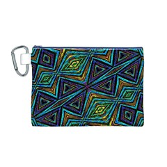 Tribal Style Colorful Geometric Pattern Canvas Cosmetic Bag (Medium) by dflcprints