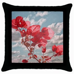 Flowers In The Sky Black Throw Pillow Case by dflcprints