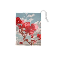 Flowers In The Sky Drawstring Pouch (small) by dflcprints