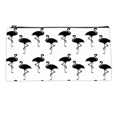 Flamingo Pattern Black On White Pencil Case by CrypticFragmentsColors