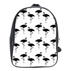 Flamingo Pattern Black On White School Bag (large) by CrypticFragmentsColors