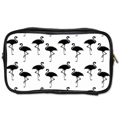 Flamingo Pattern Black On White Travel Toiletry Bag (two Sides) by CrypticFragmentsColors