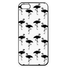 Flamingo Pattern Black On White Apple Iphone 5 Seamless Case (black) by CrypticFragmentsColors
