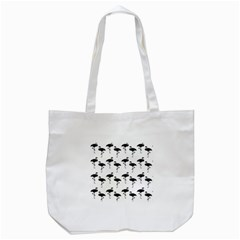 Flamingo Pattern Black On White Tote Bag (white) by CrypticFragmentsColors