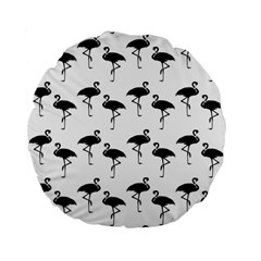 Flamingo Pattern Black On White 15  Premium Flano Round Cushion  by CrypticFragmentsColors