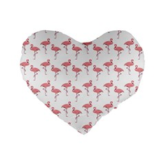 Pink Flamingo Pattern 16  Premium Flano Heart Shape Cushion  by CrypticFragmentsColors