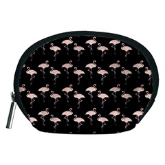 Pink Flamingo Pattern On Black  Accessory Pouch (medium) by CrypticFragmentsColors