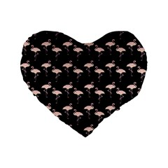 Pink Flamingo Pattern On Black  16  Premium Flano Heart Shape Cushion  by CrypticFragmentsColors