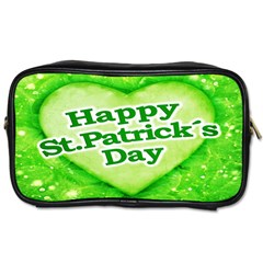 Unique Happy St  Patrick s Day Design Travel Toiletry Bag (two Sides) by dflcprints