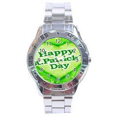 Unique Happy St  Patrick s Day Design Stainless Steel Watch by dflcprints