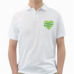 Happy St Patricks Day Design Men s Polo Shirt (white) by dflcprints