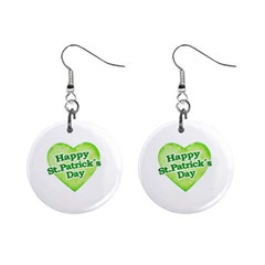 Happy St Patricks Day Design Mini Button Earrings by dflcprints