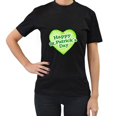 Happy St Patricks Day Design Women s Two Sided T Shirt (black) by dflcprints