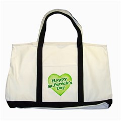 Happy St Patricks Day Design Two Toned Tote Bag by dflcprints