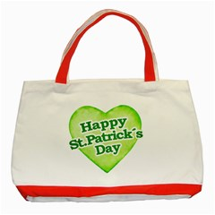 Happy St Patricks Day Design Classic Tote Bag (red) by dflcprints