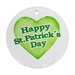 Happy St Patricks Day Design Round Ornament (two Sides) by dflcprints