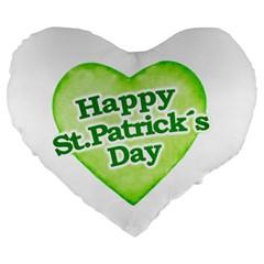Happy St Patricks Day Design 19  Premium Heart Shape Cushion by dflcprints