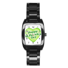Happy St Patricks Day Design Stainless Steel Barrel Watch by dflcprints