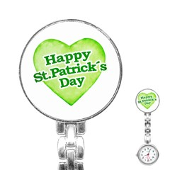 Happy St Patricks Day Design Stainless Steel Nurses Watch by dflcprints