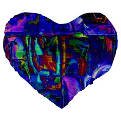 Neon Blue Purple Pink 19  Premium Flano Heart Shape Cushion by CrypticFragmentsColors