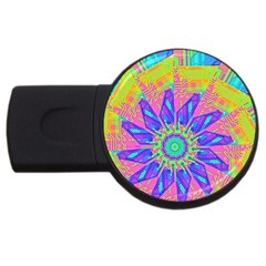 Neon Flower Purple Hot Pink Orange 2gb Usb Flash Drive (round) by CrypticFragmentsColors