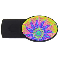 Neon Flower Purple Hot Pink Orange 2gb Usb Flash Drive (oval) by CrypticFragmentsColors