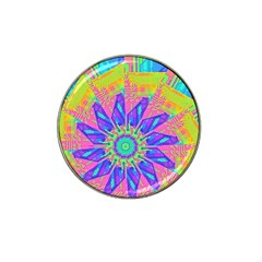 Neon Flower Purple Hot Pink Orange Golf Ball Marker 4 Pack (for Hat Clip) by CrypticFragmentsColors