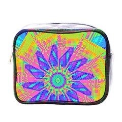 Neon Flower Purple Hot Pink Orange Mini Travel Toiletry Bag (one Side)