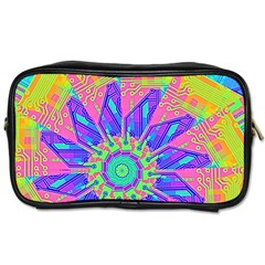 Neon Flower Purple Hot Pink Orange Travel Toiletry Bag (two Sides) by CrypticFragmentsColors