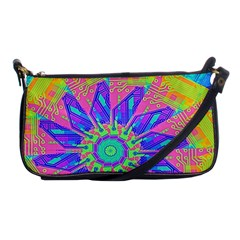 Neon Flower Purple Hot Pink Orange Evening Bag by CrypticFragmentsColors