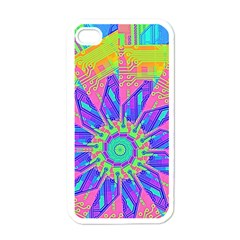 Neon Flower Purple Hot Pink Orange Apple Iphone 4 Case (white)