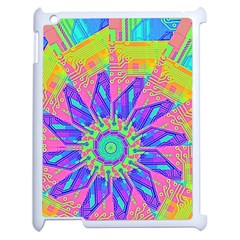 Neon Flower Purple Hot Pink Orange Apple Ipad 2 Case (white) by CrypticFragmentsColors