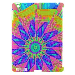 Neon Flower Purple Hot Pink Orange Apple Ipad 3/4 Hardshell Case (compatible With Smart Cover) by CrypticFragmentsColors