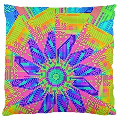 Neon Flower Purple Hot Pink Orange Large Cushion Case (two Sided)  by CrypticFragmentsColors