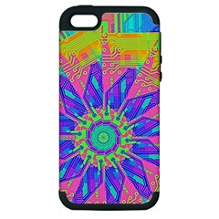 Neon Flower Purple Hot Pink Orange Apple Iphone 5 Hardshell Case (pc+silicone) by CrypticFragmentsColors