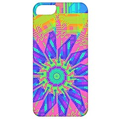 Neon Flower Purple Hot Pink Orange Apple Iphone 5 Classic Hardshell Case by CrypticFragmentsColors