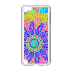 Neon Flower Purple Hot Pink Orange Apple Ipod Touch 5 Case (white) by CrypticFragmentsColors