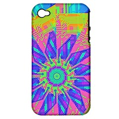 Neon Flower Purple Hot Pink Orange Apple Iphone 4/4s Hardshell Case (pc+silicone) by CrypticFragmentsColors
