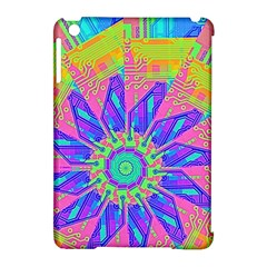 Neon Flower Purple Hot Pink Orange Apple Ipad Mini Hardshell Case (compatible With Smart Cover) by CrypticFragmentsColors