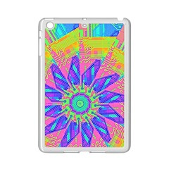 Neon Flower Purple Hot Pink Orange Apple iPad Mini 2 Case (White) by CrypticFragmentsColors
