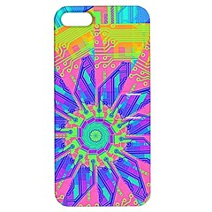 Neon Flower Purple Hot Pink Orange Apple Iphone 5 Hardshell Case With Stand by CrypticFragmentsColors