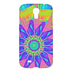 Neon Flower Purple Hot Pink Orange Samsung Galaxy S4 I9500/i9505 Hardshell Case by CrypticFragmentsColors